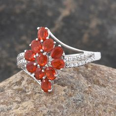 Jalisco Cherry Fire Opal Ring in Platinum Overlay Sterling Silver (Nickel Free)