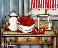 Stella Bruwer white enamel bucket with apples white enamel coffee pot on wooden table with 3 drawers Fruit Painting, Painting On Wood, Stella Art, South African Artists, Still Life Art, Decoupage Paper, Naive Art, Bathroom Art, Printable Art
