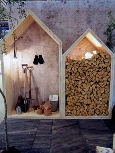 You want to build a outdoor firewood rack? Here is a some firewood storage and creative firewood rack ideas for outdoors. Lots of great building tutorials and DIY-friendly inspirations! Outdoor Firewood Rack, Outdoor Storage, Indoor Firewood Storage, Garden Tool Storage, Garden Tools, Garden Sheds, Metal Shed, Wood Supply, Garden Furniture
