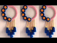 Diy Crafts For Home Decor, Diy Crafts Hacks, Handmade Home Decor, Handmade Crafts, Diy Room Decor, Door Hanging Decorations, Diy Diwali Decorations, Wall Hanging Crafts, Handmade Decorations