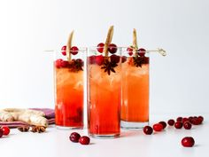 Sparkling Cranberry-Ginger Spiced Iced Tea : With its combination of cranberry and ginger flavors, this cool, fizzy tea is perfect for holiday parties. Mix equal parts ginger ale, cranberry juice and tea, then serve over ice and garnish with cranberries, sliced ginger and star anise.