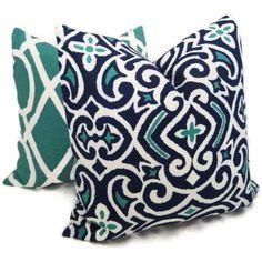 Robert Allen Moroccan Blue and Ultramarine Green Tile Decorative Pillow Cover 18x18, 20x20 or 22x22 - Toss Pillow -  Throw Pillow