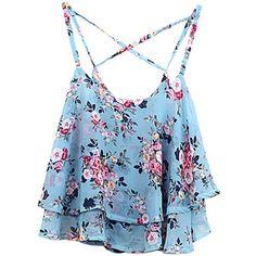 Choies Blue Layer Floral Print Cross Back Cami Top