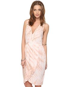 Coral Tie Dyed Wrap Dress $22.80 - forever 21