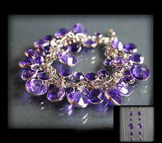 Zestaw biżuterii z pięknych fioletowych kryształków: bransoletka i kolczyki fioletowy | BIŻUTERIA \ Komplety ZESTAWY \ Biżuteria | Evangarda.pl