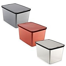 image of Curver Large Plastic Metallic Storage Tote with Lid