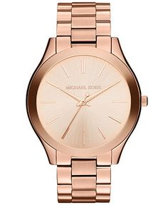 Michael Kors Watch, Women's Slim Runway Rose Gold-Tone Stainless Steel Bracelet 42mm MK3197 - Watches - Jewelry & Watches - Macy's