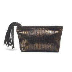 Small Jezebel Bronze Lizard Clutch Bag | mondrina