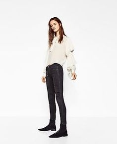 NWT-ZARA-TIE-UP-TOP-RUFFLES-LONG-SLEEVES-WITH-BUTTONED-CUFFS-CREAM-IVORY-Sz-S