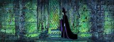 Sleeping Beauty Maleficent Production Cel and Eyvind Earle Pan Master Background (Walt Disney, 1959).