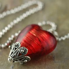 Red Venetian Glass Heart Necklace on sterling silver chain