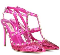 Valentino Garavani Rockstud sequinned leather pumps - These hot pink Valentino pumps are so amazing! Valentino Garavani, Valentino Pumps, Satin Pumps, Patent Leather Pumps, Used Designer Handbags, Hot Pink Heels, Rockstud Pumps, Jeweled Sandals, Shoes