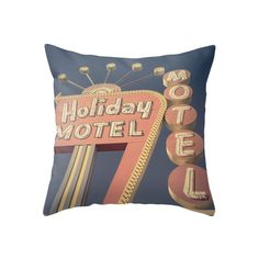 Charming and cozy, this Motel Welcome Throw Pillow will add a touch of kitschy character to a guest room bed or a trundle-equipped living room sofa. With its retro-style imagery, this accent is perfect...  Find the Motel Welcome Throw Pillow, as seen in the All Signs Point to Mid-Century Collection at http://dotandbo.com/collections/all-signs-point-to-mcm?utm_source=pinterest&utm_medium=organic&db_sku=117549