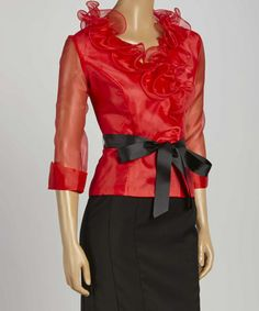 Another great find on #zulily! Red Ruffle Tie-Waist Long-Sleeve Top - Women & Plus #zulilyfinds