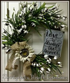 Farmhouse cotton boll wreath with galvanized sign by Twentycoats Wreath Creations (2016)