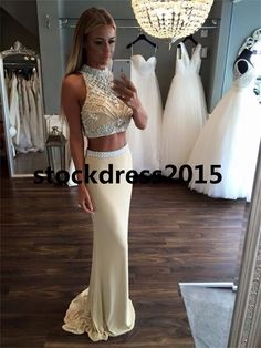 Beaded Two Piece Mermaid Sexy Formal Evening Cocktail Party Pageant Prom Dresses in Clothing, Shoes & Accessories, Wedding & Formal Occasion, Bridesmaids' & Formal Dresses | eBay