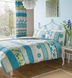 Türkis Bettwäsche Set für Doppelbett 200 x200 Bettbezug , 2x Kissenbezüge 48x74 cm , Moderne Luxus Bettwäsche-Set Hana: Amazon.de: Küche & Haushalt
