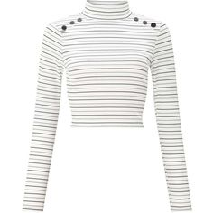 Miss Selfridge PETITE Striped Button Roll Neck Top (125 MYR) ❤ liked on Polyvore featuring tops, shirts, petite, white, petite white tops, double layer top, white top, white striped top and stripe top