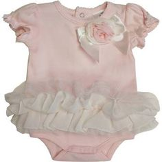 Koala Baby Boutique Pastel Tulle Tutu Skirted Bodysuit with Rosette and Bow Detail