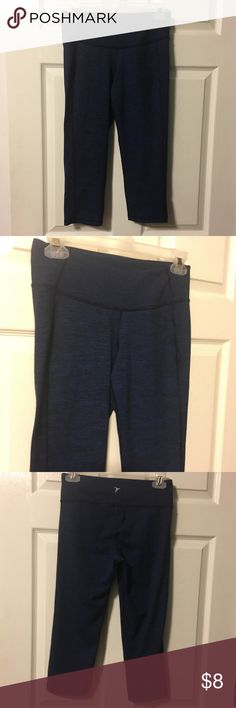 Old Navy Active Go-Dry capris Blue & Black stripes, only worn once or twice. My daughter just didn't like these. Old Navy Pants Leggings
