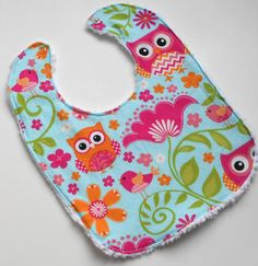 Baby Toddler Bib ~ Cotton and Chenille ~ Fun Little Owls