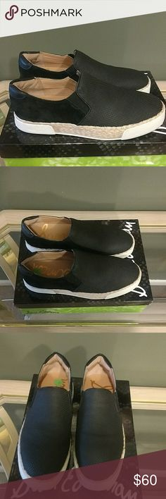 SAM EDELMAN SLIP ON TENNIS SHOE Sam Edelman black perforated slip on tennis shoes. They have a white sole with an Espadrilles braided trim detail. The sole is white. Leather in the front and around the heel. Suede in the back.   NWT Sam Edelman Shoes Sneakers