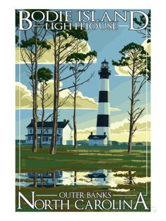 Bodie Island Lighthouse - Outer Banks, North Carolina Schilderij bij AllPosters.nl