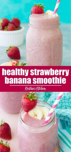 dairy free smoothie Easy and healthy strawberry banana smoothie! Sweet and creamy, with fresh strawberry banana flavor. This strawberry banana smoothie recipe can be made with milk, dairy free or high protein. It's a great breakfast for kids and adults! Smoothie Breakfast, Kiwi Smoothie, Protein Fruit Smoothie, Healthy Breakfast Shakes, Breakfast Recipes, Healthy Breakfast For Kids, Smoothie Detox, Banana Breakfast, Free Breakfast