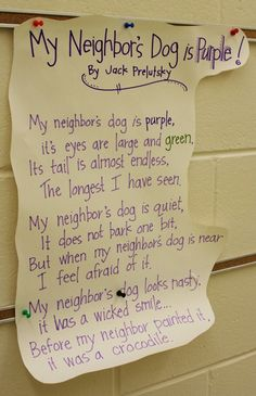 """""""My Neighbor's Dog is Purple!"""" by Jack Prelutsky... great poem for introducing """"visualizing"""""""