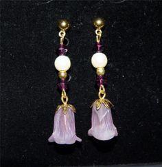 Beautiful Gold Tone Dangle Purple Flower Earrings DA12 #Unbranded #DropDangle