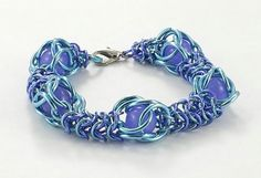 Turquois and Purple Chainmaille Bracelet by AndrassidyDesigns, $16.50