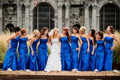 real downtown city detroit wedding on marry me metro wedding blog by dziekonski photography. Perfect color blue!!!!!!