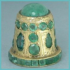 Jeweled Gilded Sterling Thimble w/ Real Emeralds * India * Mid 20th Century ~ how amazing !!