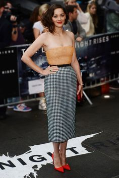 Marion Cotillard on the red carpet for the London premier of The Dark Knight Rises