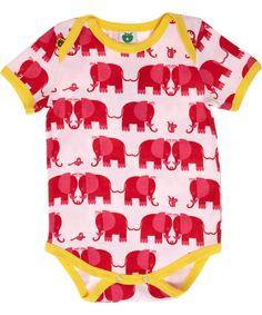 Småfolk pink body stocking with sweet elephants