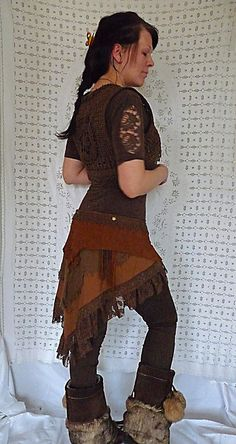 GYPSY NATIVE SKIRT stempunk pixie suede leather elven forest