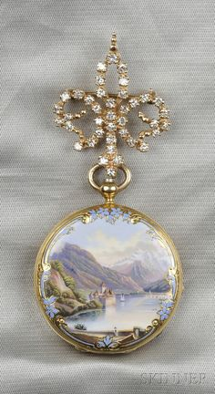 18kt Gold and Enamel Hunting Case Pocket Watch, Henry Capt