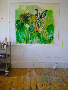 Taste of Summer #6 (eat your greens) on studio wall by Caroline Havers