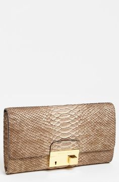 Michael Kors 'Gia' Python Embossed Clutch available at #Nordstrom