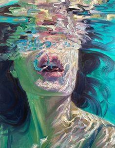 Woman in a pool Arte Hippy, Underwater Painting, Reflection Art, A Level Art, Ap Art, Art Portfolio, Surreal Art, Aesthetic Art, Portrait Art