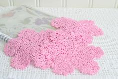 Delicate Pink doily trio , vintage Swedish small hand crochet, mini doilies , eighties handcraft