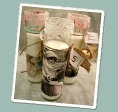 Love these easy and cheap DIY vintage candles (made w/ supplies from the Dollar Store!) #DIY #crafts #home #decor #cheap #candles