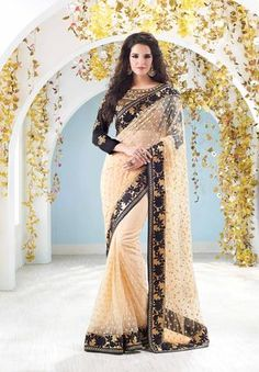 Ruhani Fashion | Products | Designer Saree,New Arrivals | Pristine Beige Black Georgette Saree