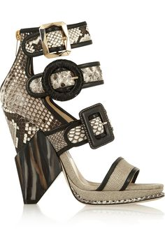 Jimmy ChooKaya leather-trimmed python, cobra and canvas sandals