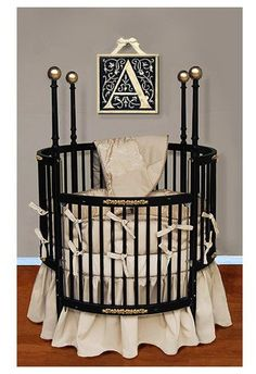 BOYS-CRIBS  Baby Doll Bedding Sensation Round Crib Bedding Set - Gold - Best Price
