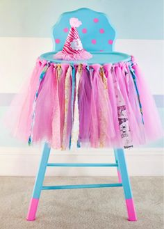 Girlie First Birthday High Chair / Baby& Birthday Photo Prop Ideas / Party Decor Idea / Photo Session / Cake Smash Session / Photography First Birthday Tutu, 1st Birthday Banners, 1st Birthday Photos, Baby Birthday, Birthday Bash, First Birthday Parties, First Birthdays, Birthday Ideas, High Chair Decorations