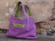 CanvasTote Bag Reversible Violet/ Green Hobo  Bag  Tote by koatye1