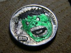 The Hulk obv Hobo Nickel, Hulk, Coins, Carving, Unique, Rooms, Wood Carvings, Sculptures, Printmaking