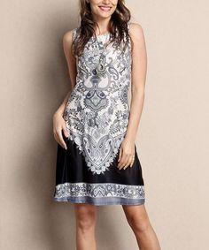 Another great find on #zulily! Black & Gray Damask Sleeveless Shift Dress - Plus #zulilyfinds