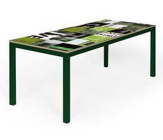 Design table made from old advertising signs, created by Table-design. | Design tafel gemaakt van oude reclameborden, gemaakt door Tafel-design.